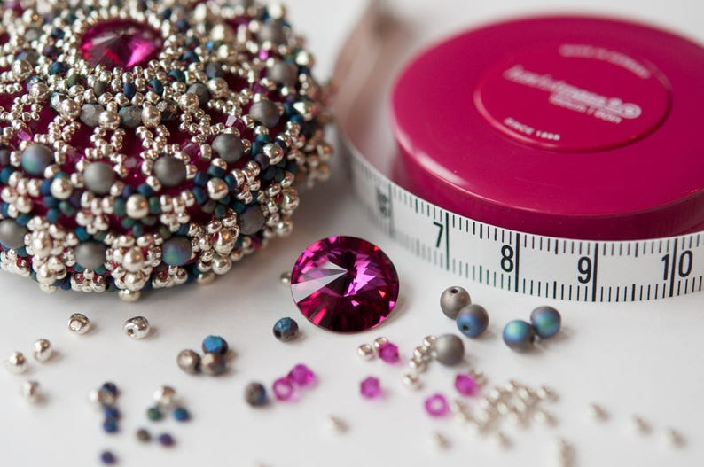 Materials Pack for Baroque Tape Measure Surround with Fuchsia, Navy, Silv