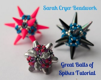 TUTORIAL Great Balls of Spikes Beadwoven Beaded Bead INSTANT DOWNLOAD
