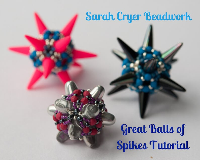 TUTORIAL Great Balls of Spikes Beadwoven Beaded Bead INSTANT image 0