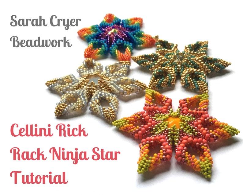 TUTORIAL Cellini Rick Rack Ninja Star Beadweaving Tutorial image 0