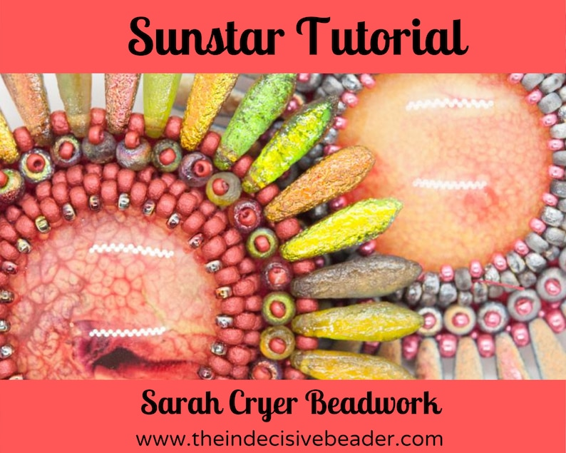 TUTORIAL Sun Star Brooch Bead Embroidery Tutorial INSTANT image 0