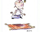 Original Art: Zen, yogi, meditation, floating, watercolour painting