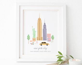 New York City Print - New York Poster - New York City Art - Manhattan Art - New York Skyline - New York City - NYC Print - New York Print