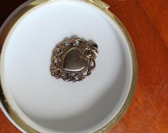 Vintage Ornate Brass Heart Charm