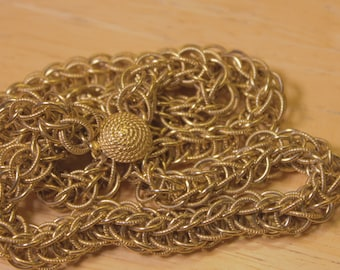 Vintage Gold Tone Braided Chain Necklace