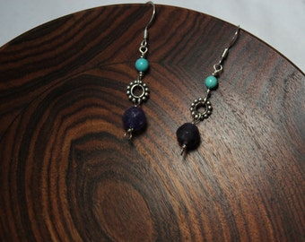 Handcrafted Sterling Silver Earrings with Amethyst and Turquoise