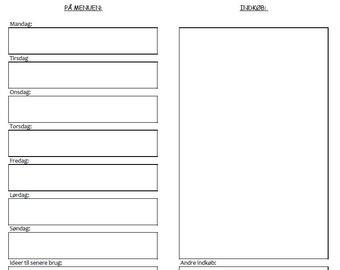 Printable madplan insert til travelers notebook, standard/narrow. Madplan, notebook, travelers notebook
