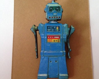 Wooden Retro Vintage Robot Brooch