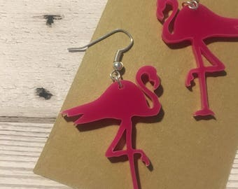 Acrylic pink flamingo earrings