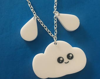 Cute Acrylic Cloud And Raindrop Necklace