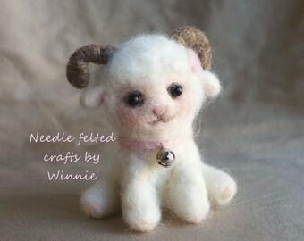 White Lamb OOAK handmade Needle felted wool sheep