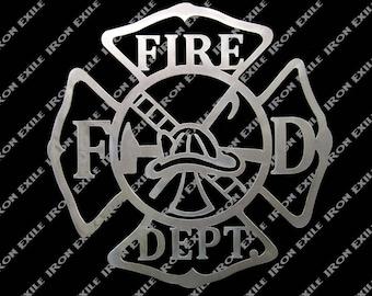 Fire Department Metal Wall Art Sign