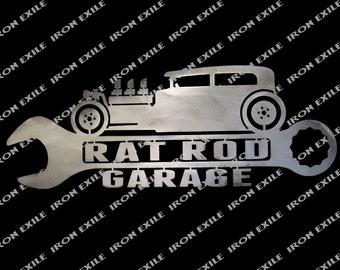 Rat Rod Sedan Garage Metal Wall Art Sign Street Hot Rod Speed Shop Gift Idea USA