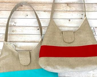 Linen Print Color Block Hobo Purse Bag, Shoulder Tote Bag, Hobo Tote Bag, Over The Shoulder Bag, Boho Bag, Bohemian Style