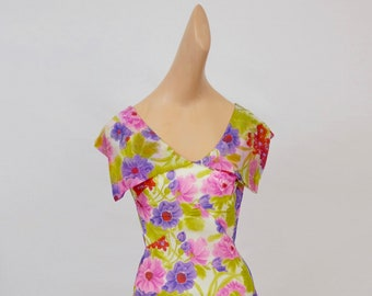 The Jaqueline: vintage 1960s floral colorful fitted wide collar summered century floor length dress