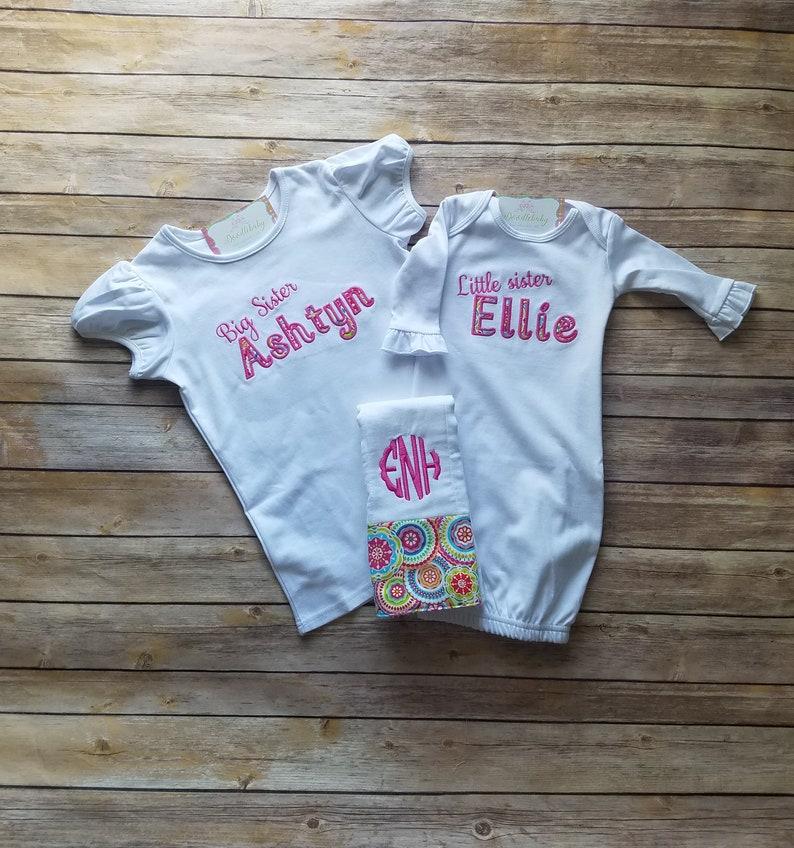 new baby sibling shirts sibling outfit burp cloth set Sibling sister set sibling set big sister little sister set new sister shirts