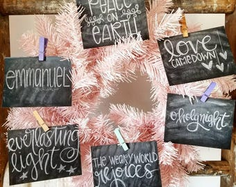 Christian Journaling Cards 3x4 Chalkboard prints Christmas advent scrapbooking December Daily peace on earth holy night joy love rejoice