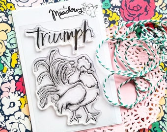Triumph Chicken Rooster Easter Lent Faith Jesus Mini Stamps Christian Scrapbooking Stamping Bible Journaling mom Growing Meadows Tai Bender