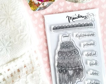 Bride of Christ Mini Stamps Christian Scrapbooking Stamping Bible Journaling wedding dress lace trim doily gown Growing Meadows Tai Bender