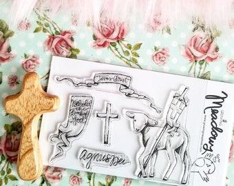 Lamb of God Easter Lent Jesus Stamp Set Clear Behold Cross banner paschal Christian Art Worship Bible Journaling Growing Meadows Tai Bender