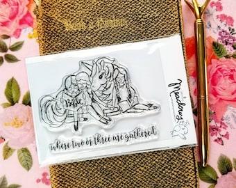 Two or Three Mini Stamps Christian Scrapbooking Stamping Bible Journaling Unicorn Sister friendship Bible friend Growing Meadows Tai Bender
