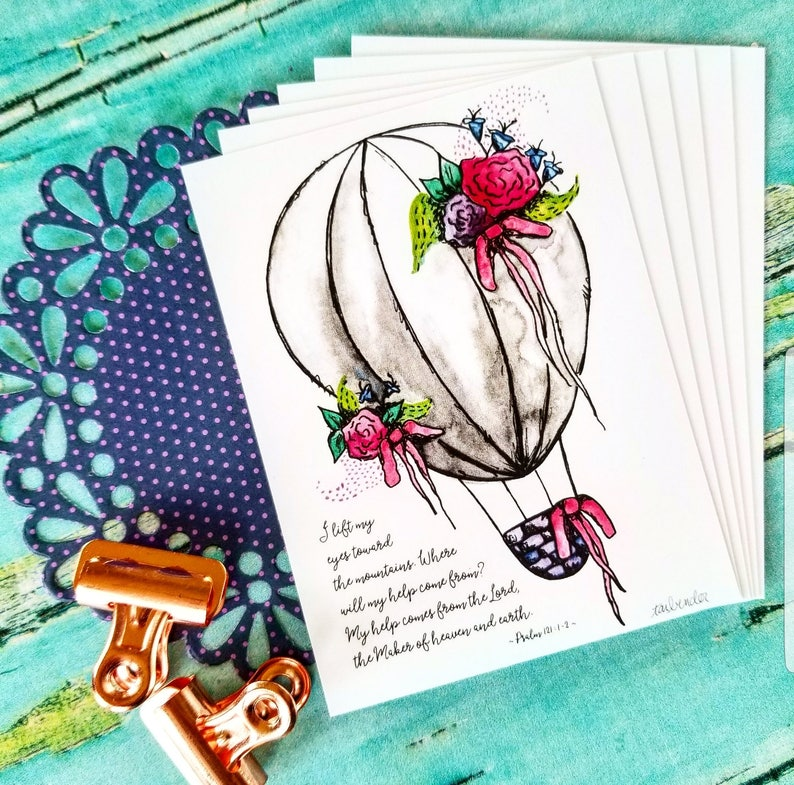 Christian Journaling Cards 3x4 Watercolor Hot Air Balloon image 0
