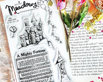A Mighty Fortress Stamp Set Clear castle tower flowers hymn Narnia God Christian Art Worship Bible Journaling Growing Meadows Tai Bender
