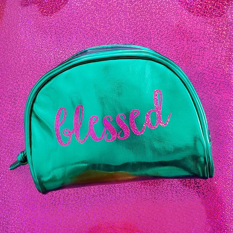 BLESSED Bible Journaling Glitter sticker planner pouch makeup image 0