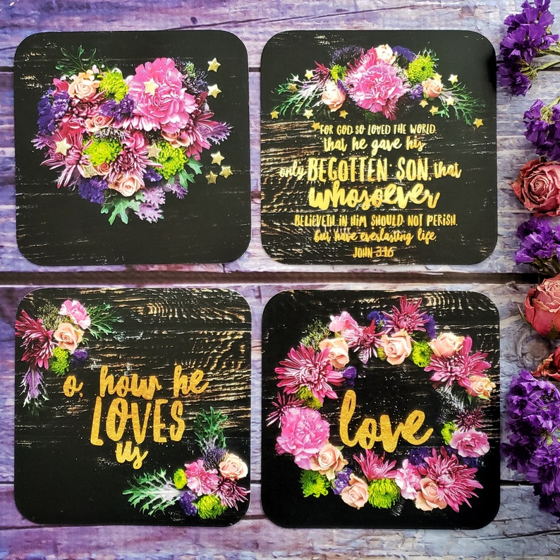Christian Journaling Cards Floral love valentine 4x4 heart image 0