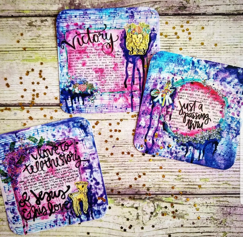 Hymns in Purple Christian Journaling Cards 4x4 Watercolor mixed media  lyrics victory Print floral Painting lion carousel deer world jesus