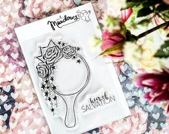 Heir of Salvation Mini Stamps Christian Scrapbooking Stamping Bible Journaling Hand Mirror Crown Princess Roses Growing Meadows Tai Bender