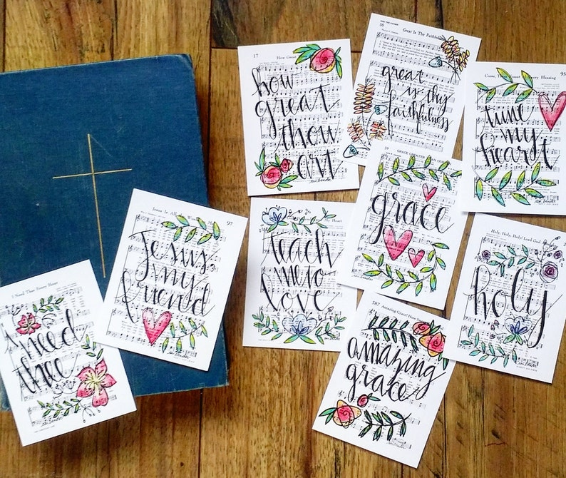 Journaling Cards 3x4 Pocket Pages Letters Print Hymn Fine Art image 0