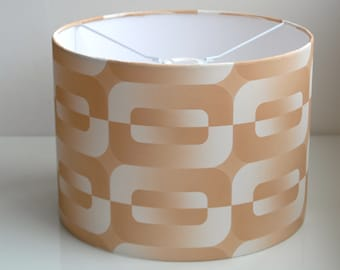 Retro Lampshade Handmade with Vintage Wallpaper-brown beige