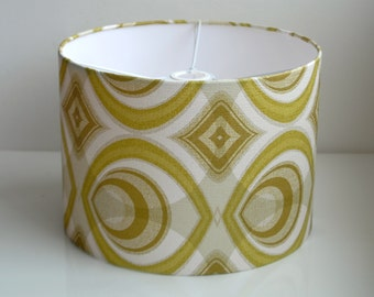 Retro Lamp Shade with Vintage Green and White wallpaper