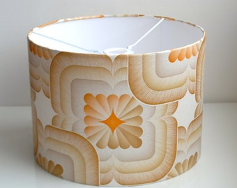 Retro Lampshade Handmade with Vintage Wallpaper-Orla Kiely Style-Abstract/Flowers/Orange/Brown