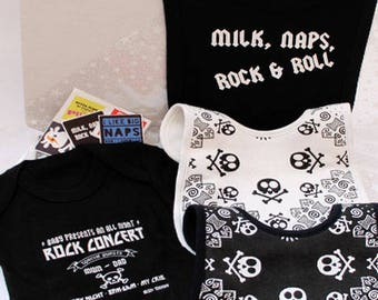 Rock n Roll Baby Gift Set / Box / Rock Star Baby Shower Gift for Unique Boys Girls / Trendy Baby Outfit Set / Christmas Baby Gift  Baby Grow