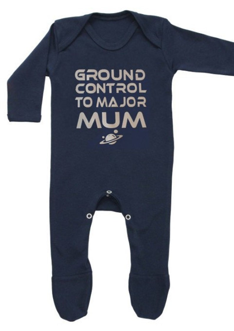 BOWIE Inspired Baby Sleepsuit Boy Girl Ground Control To image 0