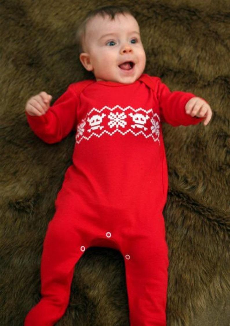 19a5ecea3 Baby FIRST CHRISTMAS Sleepsuit Boys or Girls Skull Fair Isle
