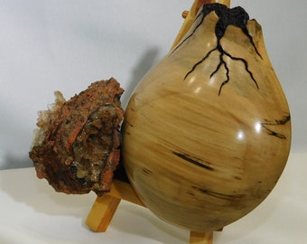 Original Hand Carved Spalted White Oak, in Native America Inspirations and Wulfenite w/crystals Stone