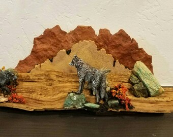 """Original Woodcarving of Wolves in """"Humble Acceptance"""""""