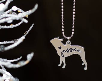 Personalized Engraved Boston Terrier/French Bulldog/Pug/Bulldog Pendant Necklace