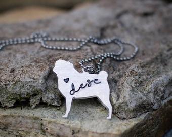 Personalized Engraved Pug/French Bulldog/Pug/Bulldog Pendant Necklace