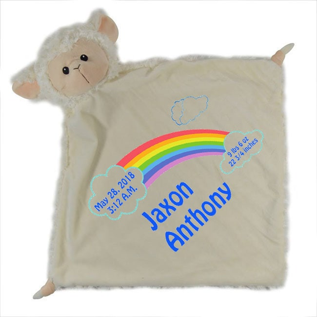 Personalized Blankie With Lamb Head Baby Shower Gift Security