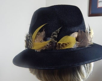 Feather Hat Band - Rustic Cowboy Hat Band - Gold, Tan and Natural Feather Hat Accessory