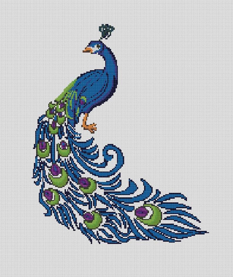 Counted Cross Stitch Pattern, Peacock, Nursery Birds, Nursery Art, New  Baby, Instant PDF Download