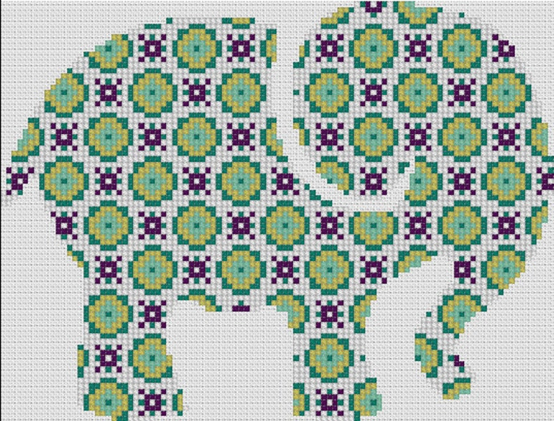 Counted Cross Stitch Pattern, Nursery Art, New Baby, Animals, Elephant,  Patchwork, Instant PDF Download