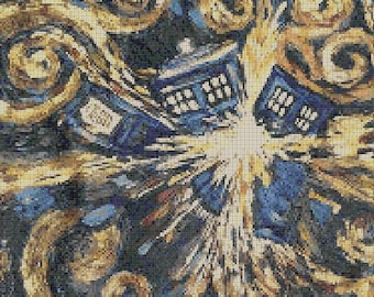 Counted Cross Stitch Pattern, Doctor Who Exploding Tardis, Paper Pattern or Complete Kit