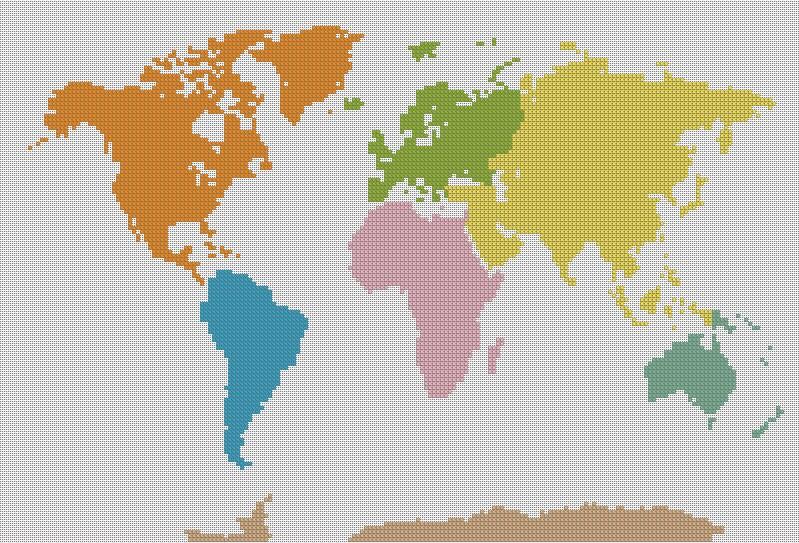 Cuenta el punto de cruz patrón mapamundi globo mapa Instant | Etsy