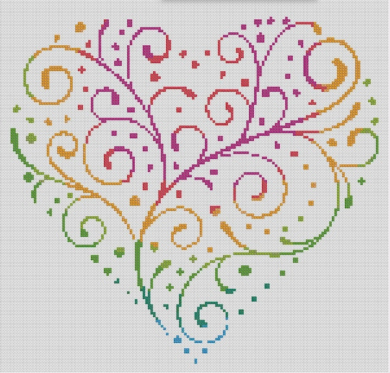 Contó cruz puntada corazón Floral flores corazones arte  4c5f41d4e19