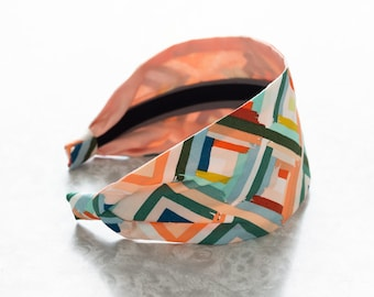 Fleeting Diamonds - Multi - Geometric Print Retro Style Wide Cotton Fabric Headband
